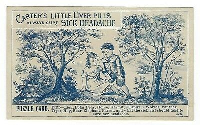 Carter's Little Liver Pills late 1800's Puzzle medicine trade card-Worcester, MA