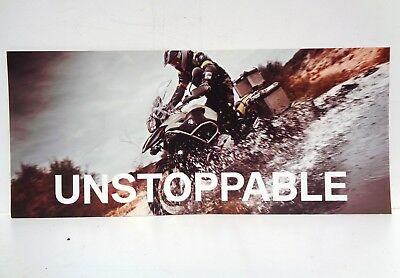 Vtg Bmw Unstoppable Motorcycle Off Road Touring Advertisement Sign Poster Board