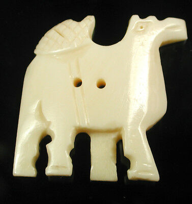 """BB Hand Carved Camel Button Realistic 1 & 3/8"""""""