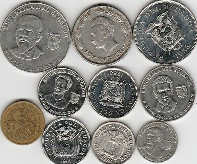 10 different world coins from ECUADOR