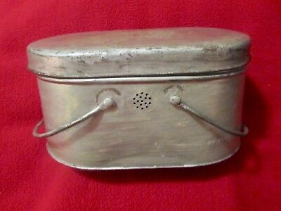 VTG Tin Metal Coal Miners Lunch Box Oval Lunch Pail Collectible Antique OLD