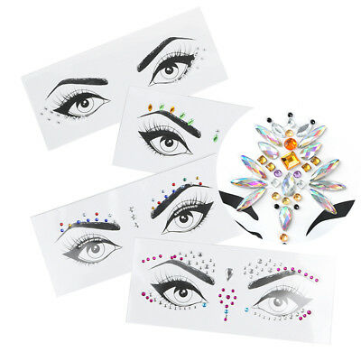 Body Adhesive Glitter Stickers Tattoo Face Gems Rhinestone Jewels Festival Party