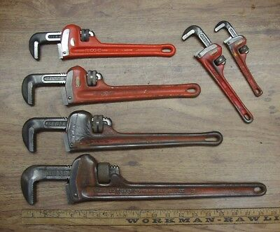 "6 Ridgid Heavy Duty Pipe Wrenches,6"",8"",10"",12"" & 14"",& 18"",Good Used Condition"