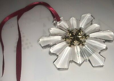 """Snowflake glass 3.5"""" ornament w. gold accent > GORHAM - made in Germany"""