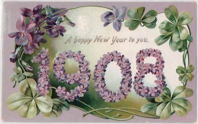 Tucks Postcard Happy New Year To You 1908 Violets 4 Leaf Clover Embossed E15