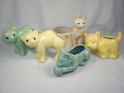 (5) Vintage Pottery Planters - 4 Cats and 1 Dog