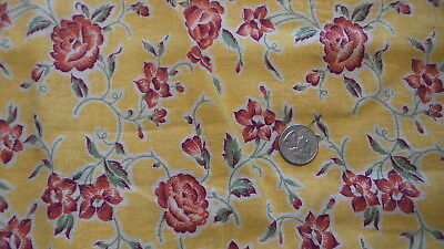 "Vintage Feedsack Feed Sack Fabric RED FLORAL ON GOLDEN YELLOW 52""x 36"""
