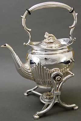 VICTORIAN SILVER PLATED TEA KETTLE w WARMING STAND