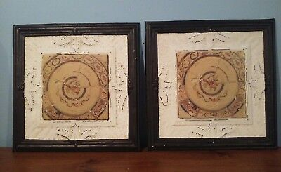 PICTURE: METAL CEILING TILE tin 3D w/MARBLE TILE in center FRAMED look, 2 EACH