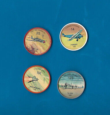 1960's Jello Airplane Coins Lot of 4  #s 14/35/123/191  NM-MT