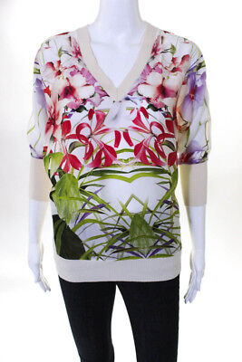 a0164cc3aaf511 Ted Baker London Womens Top Blouse Size 1 White Pink Floral Print V Neck