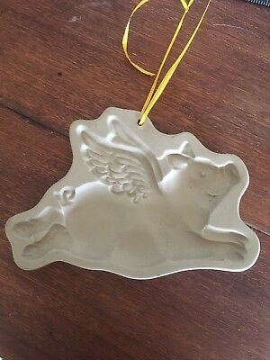 Pig With Wings Brown Bag Cookie Art Mold 1993