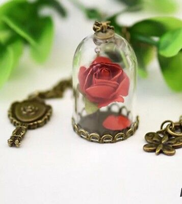 Beauty and The Beast Inspired Glass Rose Pendant Belle Mirror Necklace