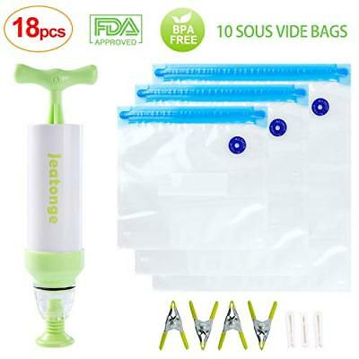 Sous Vide Bags Kit for Anova Cookers 10 Reusable Food Vacuum Sealed Bags, 1 Hand