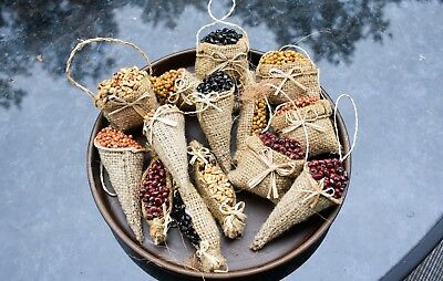 New Set of 14 Primitive Burlap Sacks with Seeds Ornaments for Fall