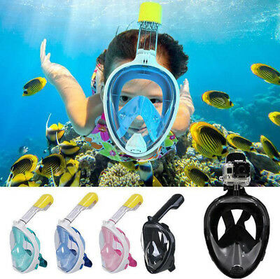 Anti-Fog Full Face Snorkel Snorkeling Mask W/ Breather Pipe Adult Kids for Gopro