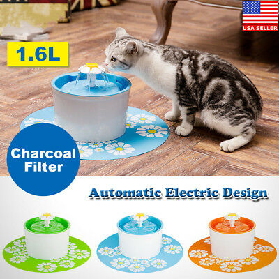 1.6L Automatic Pet Cat Dog Water Drinking Flower Fountain Bowl Drink Dish Filter