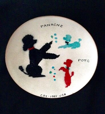 """Poodles Handcrafted By Bovano of Cheshire Connecticut Enamel On Copper Plate 6"""""""