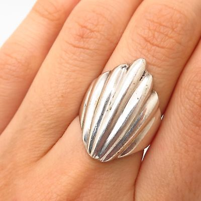 Vtg Mexico 925 Sterling Silver Ribbed Seashell Design Ring Size 6.5