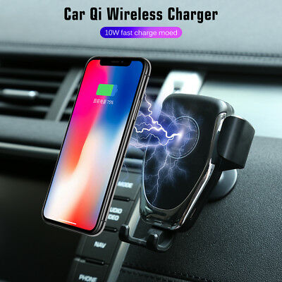 Qi Wireless Car Charger Magnetic Mount Holder For Samsung iPhone XS MAX XR -abb