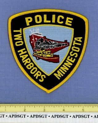 TWO HARBORS MINNESOTA Police Patch OLD STEAM RAILROAD TRAIN FREIGHTER SHIP
