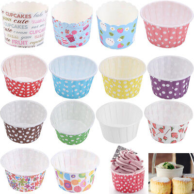 50/100pcs Colorful Paper Cake Cupcake Liners Baking Muffin Cup Case Party Tray
