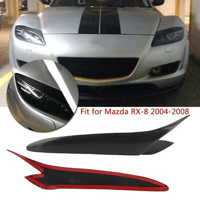 For 2004-2008 Mazda RX-8 Real Carbon Fiber Front Headlight Eyebrows Eyelid Cover