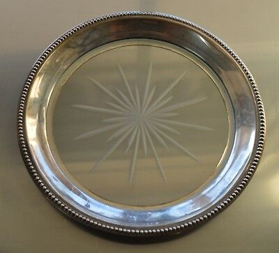 Vintage Whiting Sterling Silver Etched Glass Candy Dish ~ 5.25 inch diam.