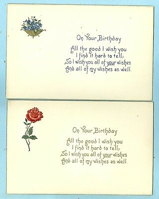 "1st 2 of 4 Embossed, ""On Your Birthday, All the good I wish You"", Rose, Flowers"