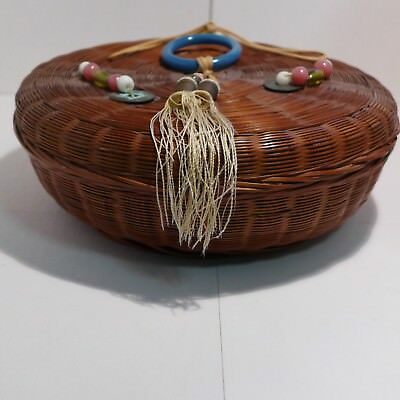 "Vintage 9"" Chinese Sewing Wicker Basket Round with Tassels Coins Lid Blue Silk"