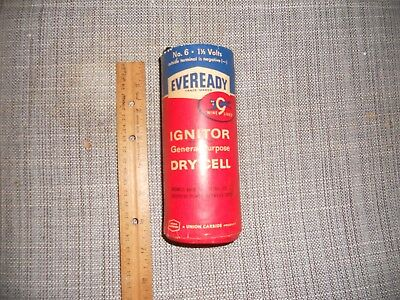 Vtg Eveready No.6 1 1/2 Volts Ignitor General Purpose Dry Cell Battery Cat Nine