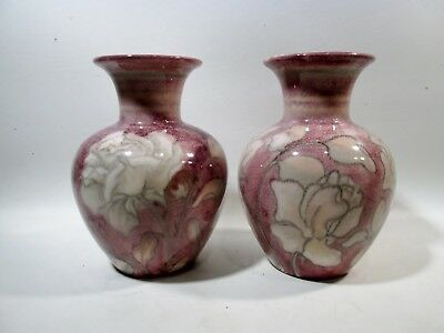 Pair ROOKWOOD Pottery SIGNED Margaret Helen McDonald VASES Roses