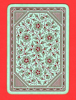 1 Single ANTIQUE OLD ENGLISH WIDE Swap/Playing Card ReversibleFLOWERS LEAVES #34