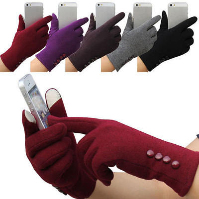Women Ladies Button Fleece Thermal Lined Touch Screen Gloves Winter Warm Fashion