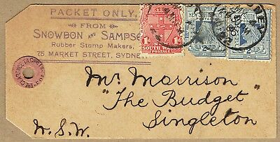 New South Wales 1906 Snowdon & Sampson Rubber Stamp Makers packet tag