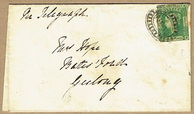 New South Wales 1856 cover per Telegraph to Batesford Victoria 3d Laureate