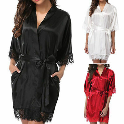Women Silk Satin Kimono Robe Dressing Gown Wedding Bridesmaid Bathrobe Sleepwear