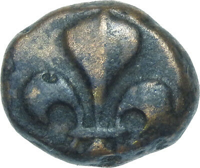 French India Dou Dou Pondichery Mint Flures Copper Coin #i81