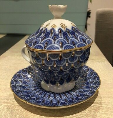 Imperial Russian Porcelain Tea Cup Sauce Cobalt and Gold Lomonosov Peacock