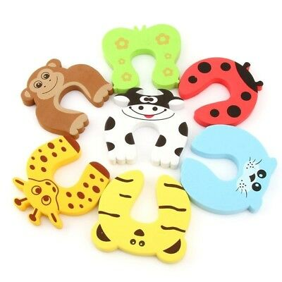 Baby Safety Proofing Door Stop Softcover Cartoon Animals 10 Pieces Child Proof