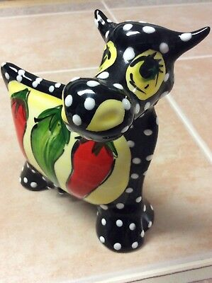 """Turov Hand Painted Ceramic  7""""Black Cow White Polka Dots Hot Chili Pepper Signed"""