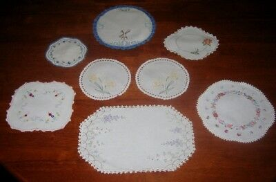 8 Vintage Hand Embroidered Doilies ~ Linen & Cotton ~ Lace Edged