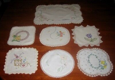 7 VINTAGE HAND EMBROIDERED DOILIES ~ LINEN & COTTON ~ LACE EDGED (a)