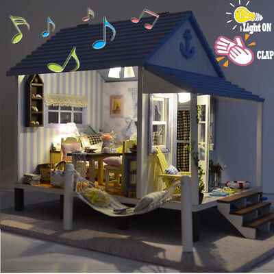 DIY Music LED Coast Apartments Dollhouse Miniature Wooden Furniture Doll House