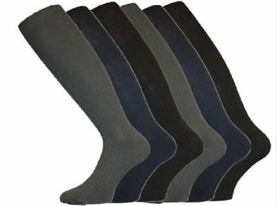 6 Pairs Mens Gents Long Hose 100% Cotton Ribbed Comfy Grip Knee High Socks
