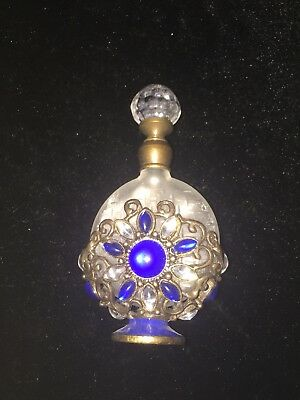 Stunning Clear Glass+metal Art Deco Style Perfume Bottle