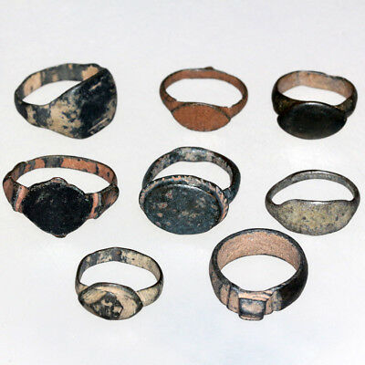 Stunning Lot Of 8 Ancient & Medieval Bronze Rings Include One Silver