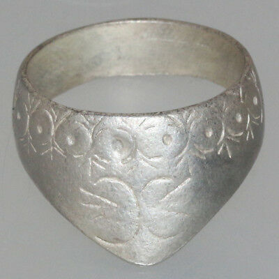 Rare-Early Medieval Silver Arched Ring Decorated Ca 1000 Ad