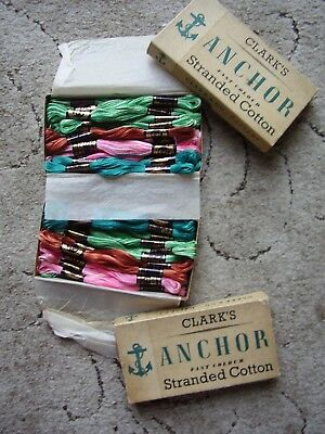 2 Vintage Boxes containing 34 Skeins Anchor Embroidery Silks mostly variegated.