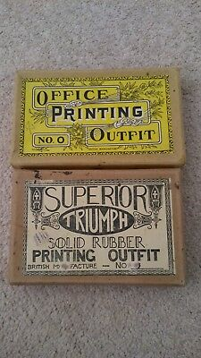 2 Vintage Superior Triumph Solid Rubber Printing Outfit-British Made in Original